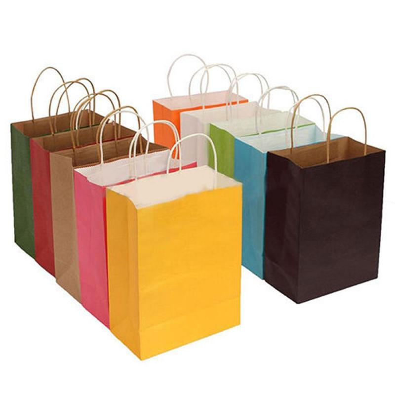 1pc Paper Bag Christmas Wedding Party Gift Bag Paper Candy Food Presents Bag Packing With Handles Recyclable Shopping Bag
