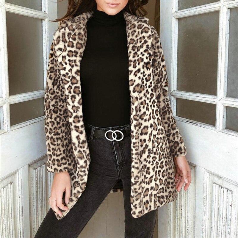 Winter Women Leopard Print Fluffy Fleece Coat 2018 Newest Thick Warm Turn-down Collar Cardigan Faux Fur Coats jackets Outwear