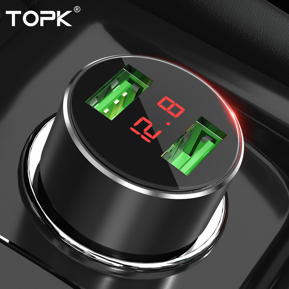 TOPK Usb-Car-Charger Mobile-Phone Fast Huawei Samsung for Xs Display Digital In-Car Dual