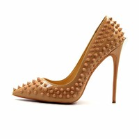 Shallow Pointed Toe Thin High Heels Sexy Rivets Spike Women Party Shoes Classical Fashion Studs Lady Party Shoes