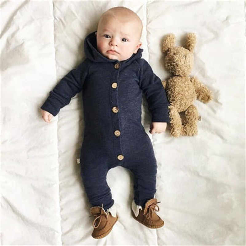 9e54dab010086 ... 0-2T Infant Kid Hooded Jumpsuits Baby girl Boy Clothes Newborn Long  Sleeve Single Breasted ...