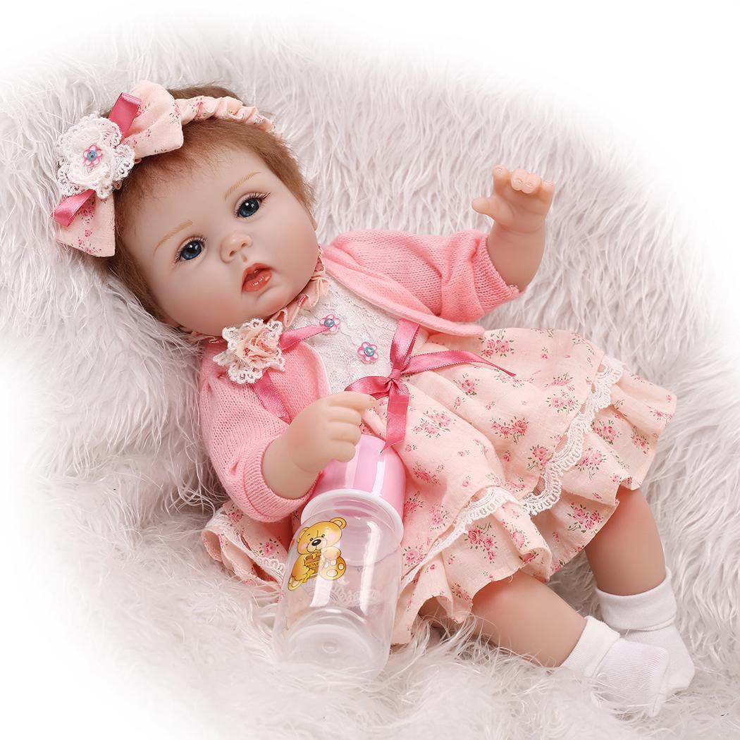 bebes reborn doll 16'' New Handmade Silicone bebe reborn baby feeding doll with baby hat girl kid menina de silicone lol doll
