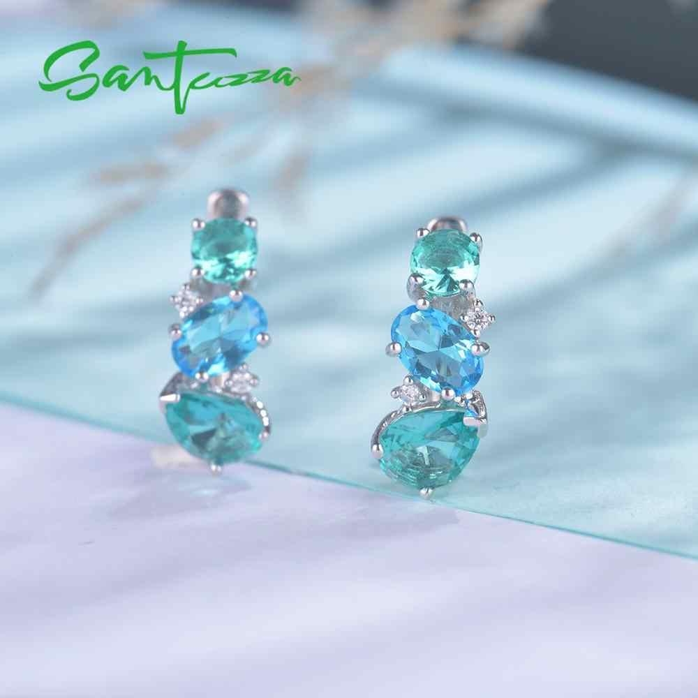 SANTUZZA כסף תכשיטי סטים לנשים 925 סטרלינג כסף כחול ירוק קריסטל לבן CZ עגילי טבעת סט המפלגה תכשיטים