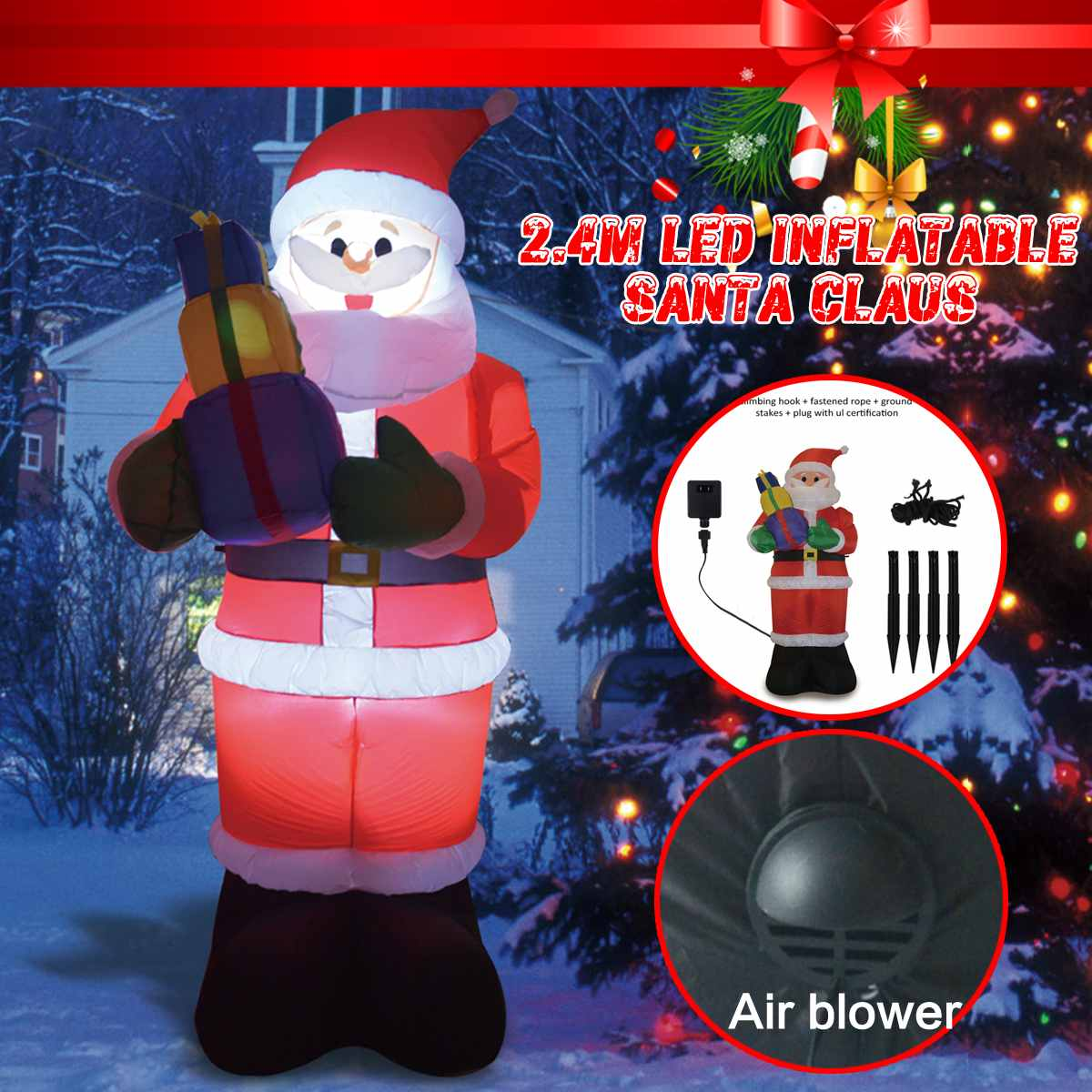 2.4m EU/US PLUG LED Santa Claus Inflatable Christmas LED Santa Claus Toy for Christmas Garden Outdoor Decoration2.4m EU/US PLUG LED Santa Claus Inflatable Christmas LED Santa Claus Toy for Christmas Garden Outdoor Decoration