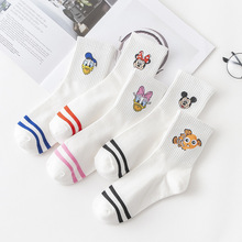 Factory Cartoon Hosiery Harajuku Style Women Socks Japanese Ankle Cute Mickey Female Casual Funny Cotton White Stripe Sock