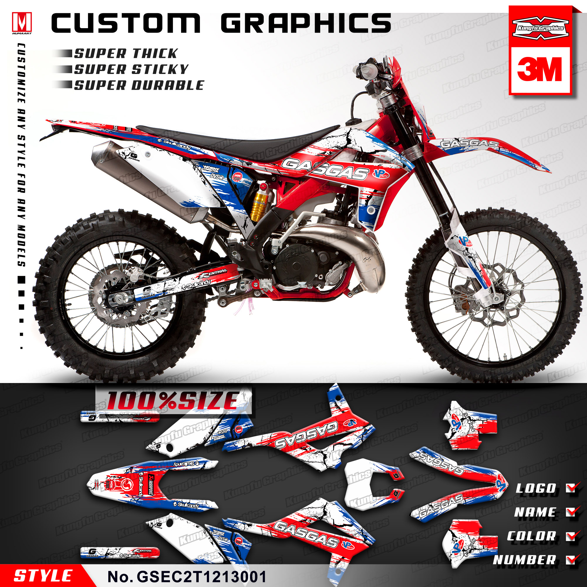 Kungfu graphics custom stickers for gas gas ec 125 200 250 300 e guillaume replica racing 2t 2012 2013 style no gsec2t1213001 in decals stickers from