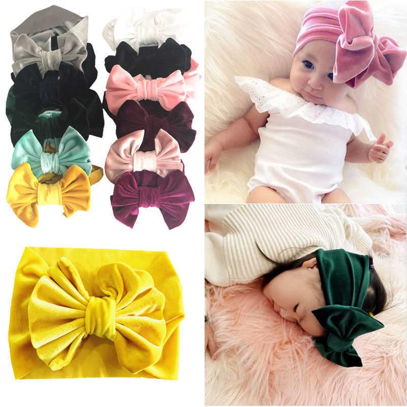 Baby Girl Headbands Hair tie Gold Velvet Ribbon Bow Headband Girls Head Bands Hair elastic