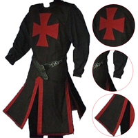 Medieval Period Knight Costumes Coats Medieval Templar Knight Crusader Surcoat Sleeveless Mens Tunic Reenactment Male Costumes