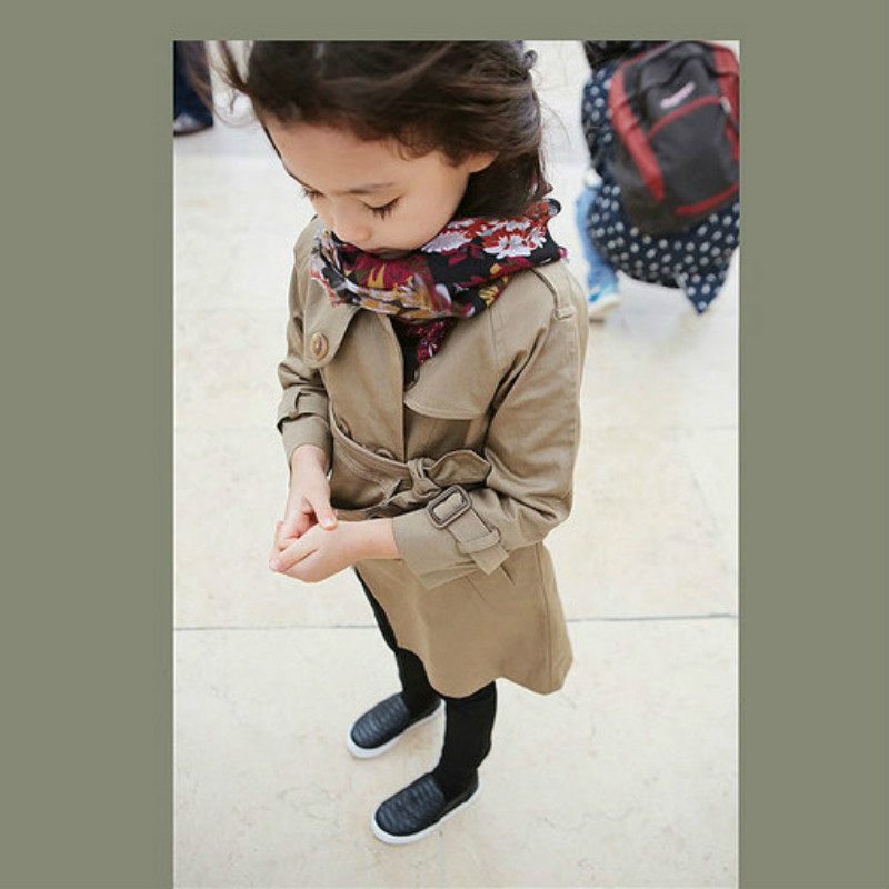 Girls Jackets Fashion Double-Breasted Cotton Coats Brand New Kids   Trench   Coats Girls Long Jackets Autumn Children Clothing CC147
