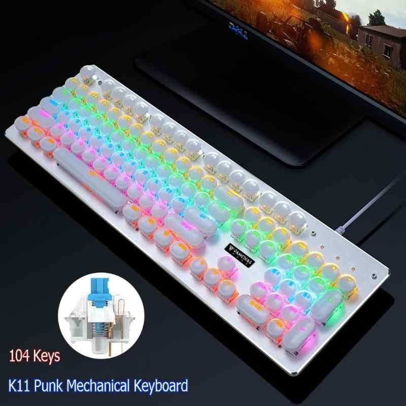 K11 الشرير كيكابس 104 مفاتيح USB السلكية الأزرق التبديل الخلفية علقت الميكانيكية الألعاب لوحة المفاتيح الأزرق Swich ل جهاز كمبيوتر شخصي ألعاب