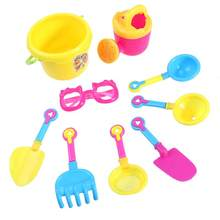 9pcs Beach Bucket Sand Castle Play Toy Set for Kids (Random Color & Tools)(China)