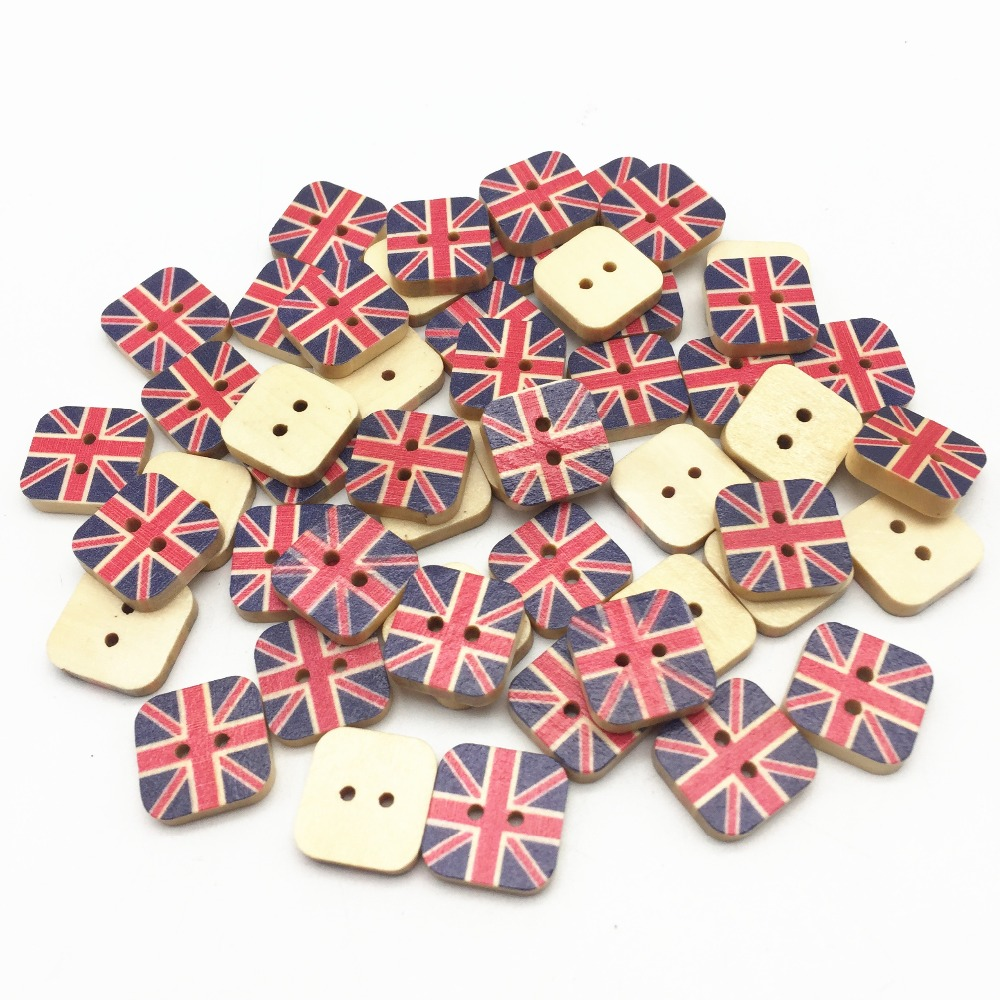 20 pcs 15mm red /& blue stars 4th of July print 2 hole wooden buttons