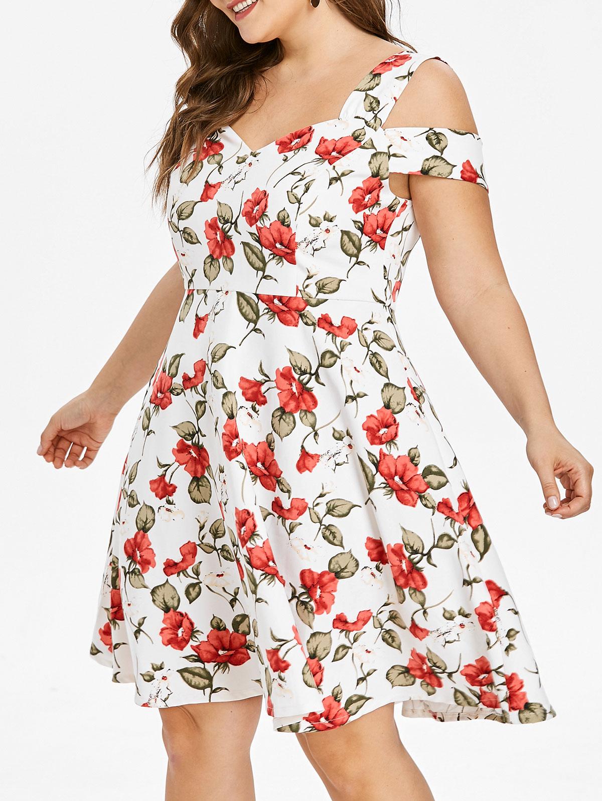 Retro Plus Size Floral Print Summer Dress Women Casual
