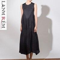 LANMREM 2019 новые летние модные женские туфли одежда плиссированные тонкие СТИЛИ шею длинные платья без рукавов женский WF86001 прилив