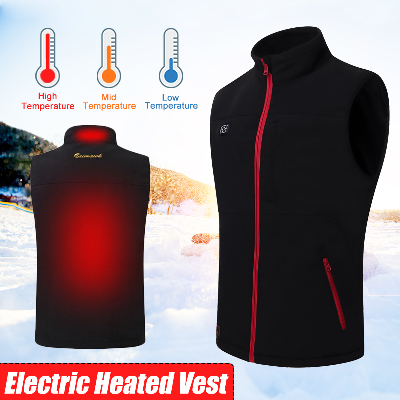 Black Newest Men Women Electric Heated Vest Heating Waistcoat Thermal Warm Clothing Feather Hot Sale Winter Jacket zndiy bry 100w 150ohm aluminum alloy resistor golden