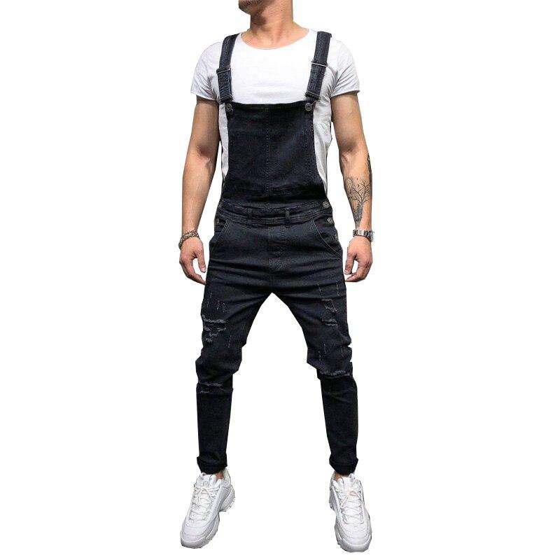 Fashion Men's Ripped Jeans Jumpsuits Hi Street Distressed Denim Bib Overalls For Man Suspender Pants Size S-XXXL