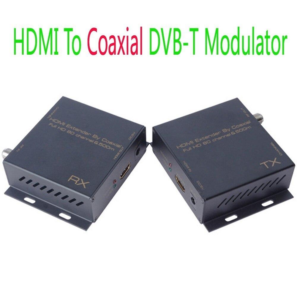 Extension HDMI 500 m par modulateur Coaxial vers DVB-T récepteur TV numérique convertisseur émetteur récepteur HDMI séparateur matrice BNC RF