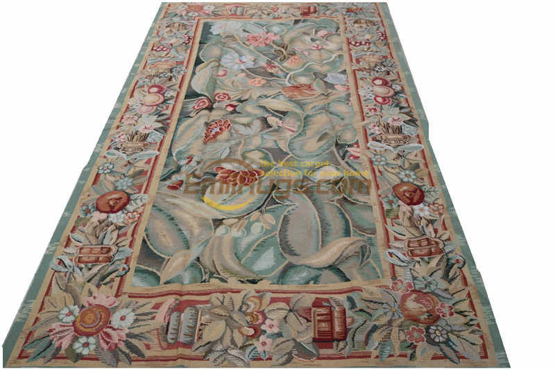 Vintage Needle-point Carpet Handmade French Country Decor Mandala Area Runner Carpet Upset Natural Sheep Wool