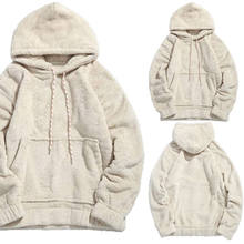 Mens Womens Lam Wol Hoodie Sweatshirt 2018 Nieuwe Winter Mode Witte Solid Hooded Tops Pocket Warme Jas Uitloper Trui S-2XL(China)