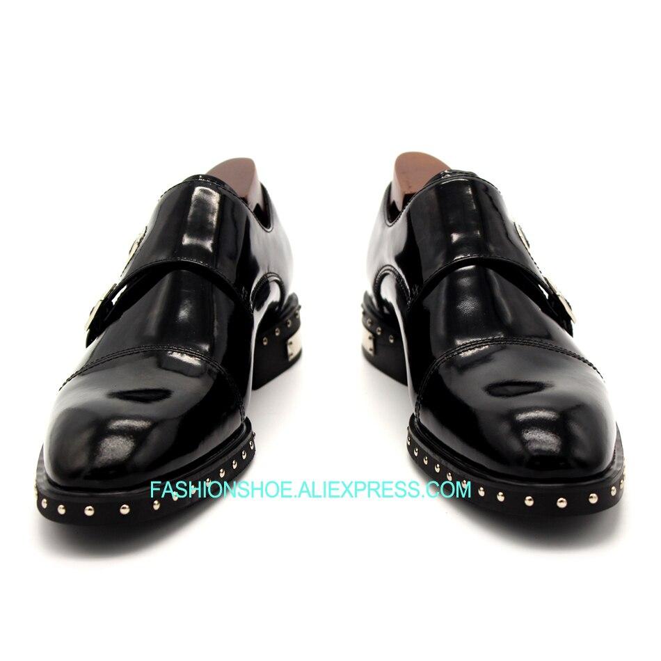 Boda Fiesta Zapatos Talón Plano Negro Correa Vestido Formal Hombres Traje Monje Remaches De Los zvAOzx
