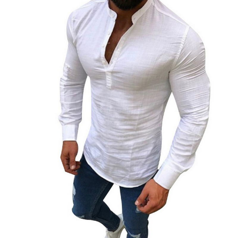 2019 Sexy New Men Long Sleeves Blouse Summer Fashion Casual Cool Clothing Slim Fit Tees Tops Male Breathable Linen Shirt