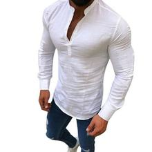 2019 Sexy New Men Long Sleeves Blouse Summer Fashion Casual