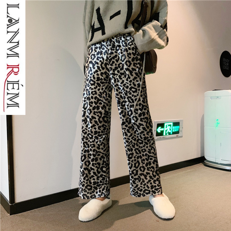 LANMREM 2019 Women Casual Fashion Leopard Elastic High Waist Pocket Long   Wide     Leg     Pants   Female Trousers Loose Bottoms TA988