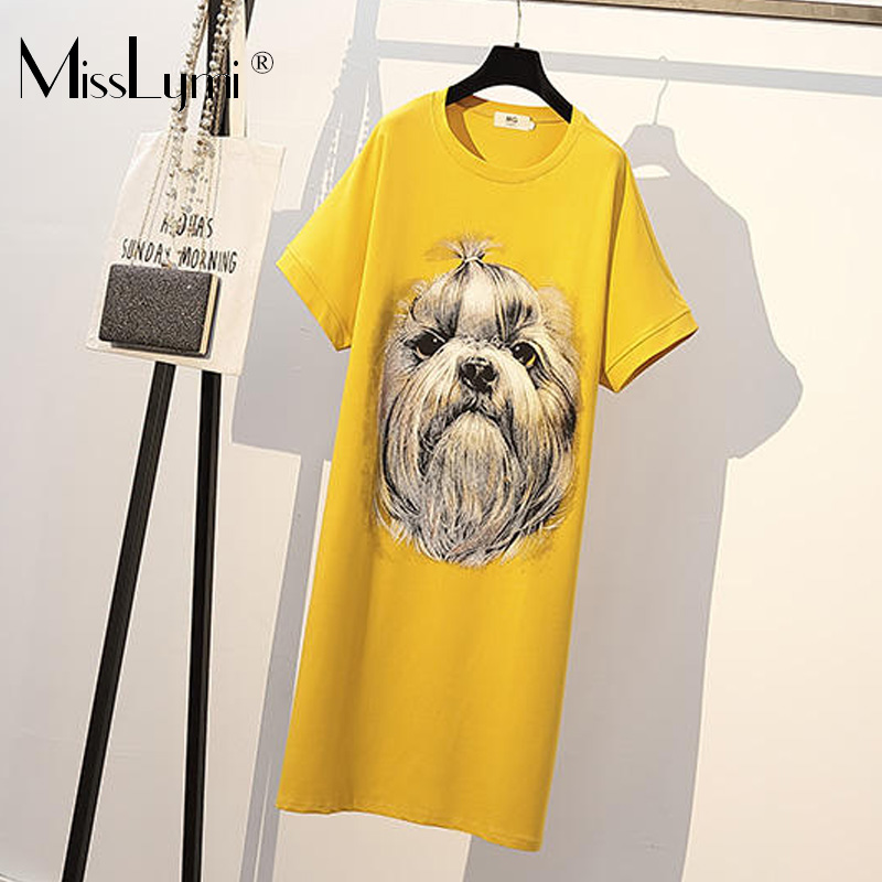 XL-4XL grande taille femmes à manches courtes Animal chien imprimé coton t-shirt robe été 2019 lâche décontracté côté Split robes jaune