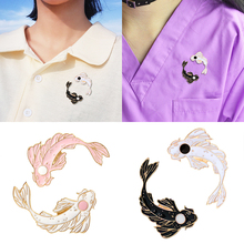 Fashion Cartoon Goldfish Brooches Pin Costume Collar Cute Animal Fish  Carp Black and White Brooch