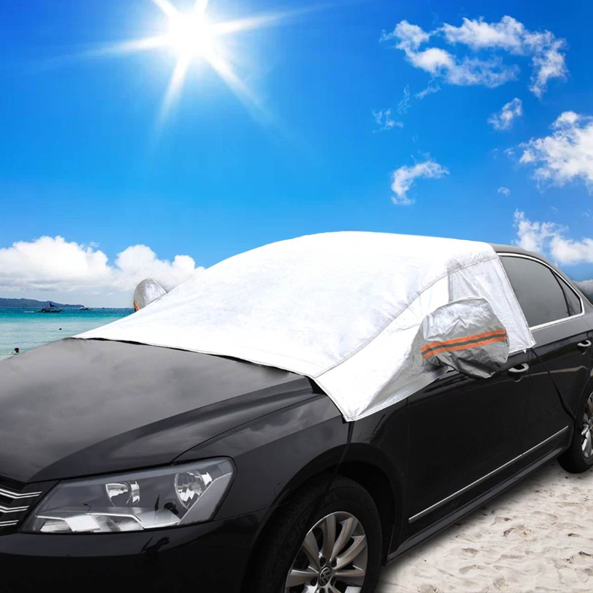 cheapest Car Windscreen Cover with Mirrors Snow Cover Winter Car Windshield Cover Sun Shade Protector L XL for Van SUVs Trucks RVs