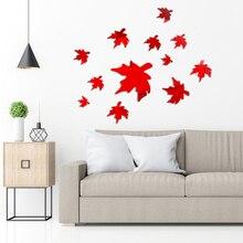 9 Pcs Acrylic  Maple Leaf Mirror Flower Pattern Wall Sticker 3D Home Decoration Art DIY S M L Size