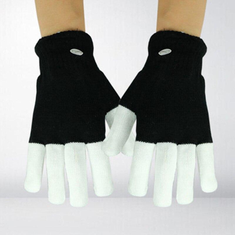 1 Pair LED Rave Flashing Gloves Glow Light Up Finger Tip Lighting Pair White NEW