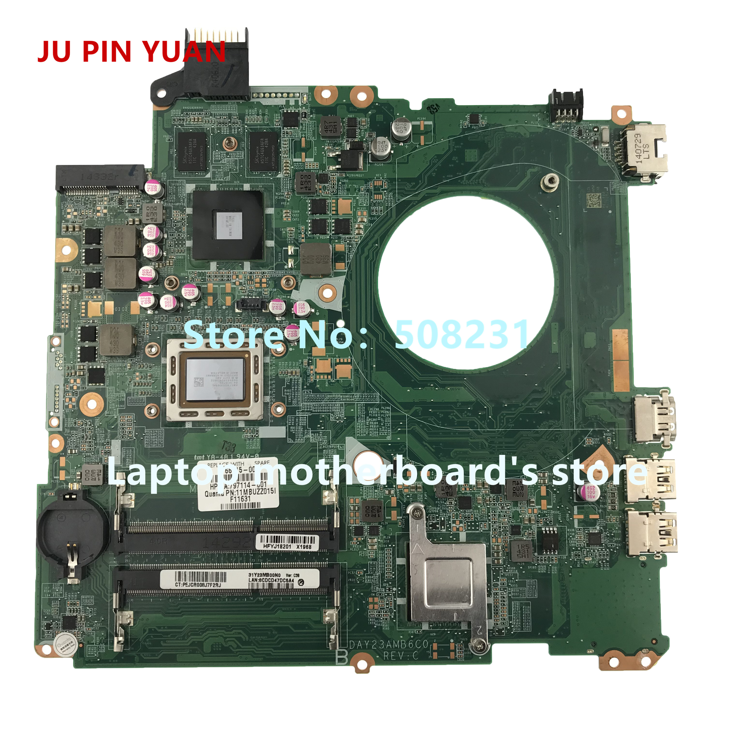 JU PIN YUAN 766715-501 766715-001 DAY23AMB6F0 Mainboard For HP Pavilion 15Z-P 15-P Laptop Motherboard A10-5745M Fully Tested