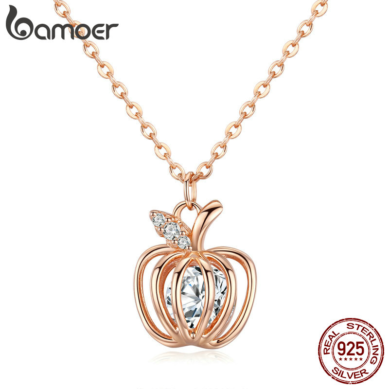 BAMOER Popular 925 Sterling Silver Lucky Apple Pendant Fruit Clear CZ Women Necklaces Pendants 925 Silver Jewelry Collar BSN030BAMOER Popular 925 Sterling Silver Lucky Apple Pendant Fruit Clear CZ Women Necklaces Pendants 925 Silver Jewelry Collar BSN030