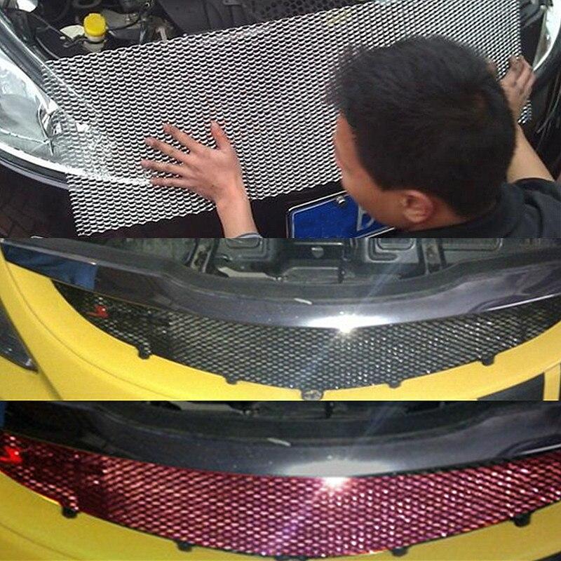 Autoleader ユニバーサル 100 × 33 センチメートルカーレースグリルネットアルミ車の車両黒体グリルネットメッシュ黒/ シルバーランダムに送信