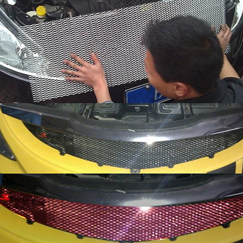 Autoleader evrensel 100x33cm araba yarış ızgarası Net alüminyum otomobil araç siyah gövde Grille Net Mesh siyah/gümüş göndermek rastgele