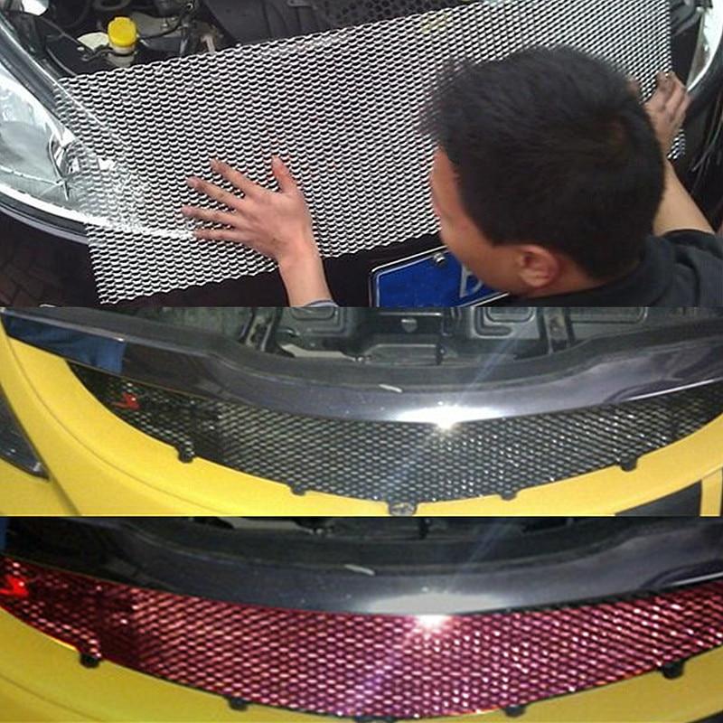 Autoleader universal 100x33cm carro corrida grille net alumínio veículo carro preto corpo grade rede malha preto/prata enviar de forma aleatória
