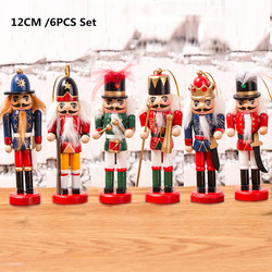 6pcs/set Wooden Nutcracker Doll Soldier Puppet 12cm Vintage Handcraft Decoration Christmas Gifts Tree Pendant Figurine Miniature