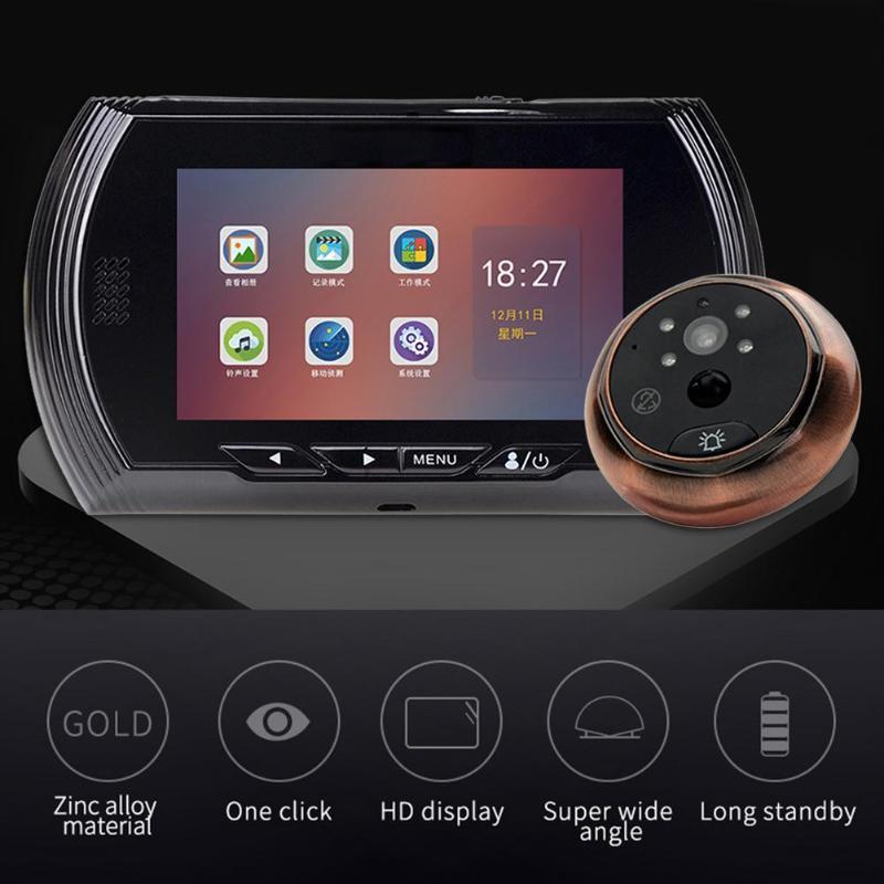 4.5 Inch HD 1080P IPS Screen Digital Doorbell USB/Battery 170 Degree Camera Peephole Door Bell 960*540 Photograph Video Doorbell
