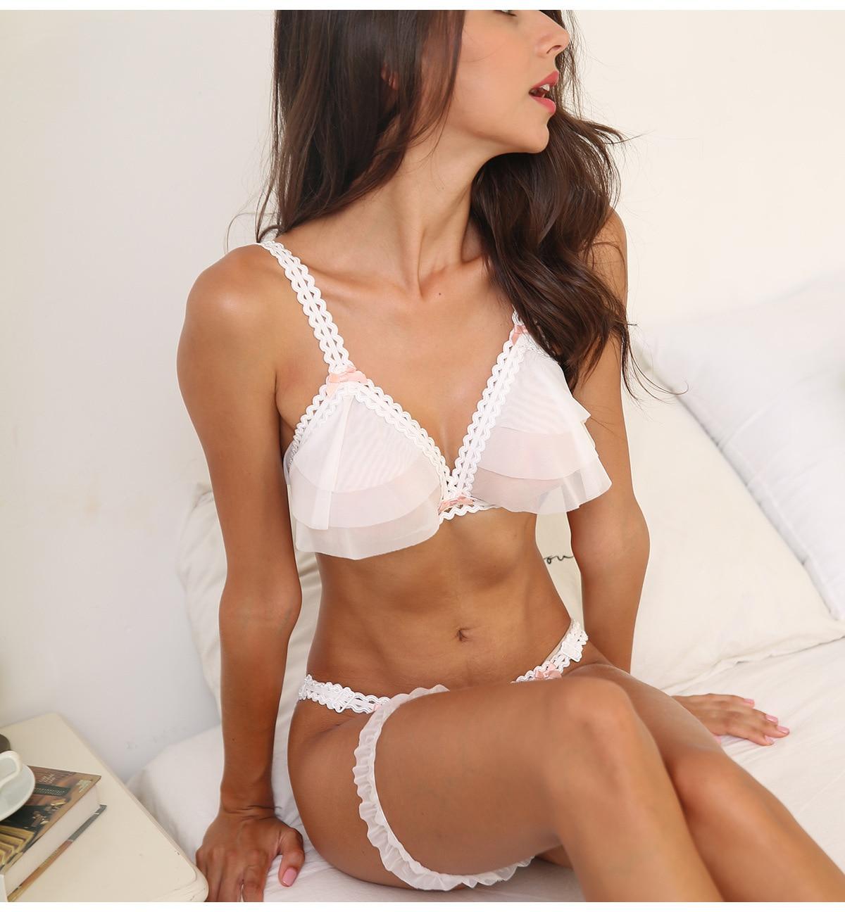 Beautiful Ultra thin Gauze Transparent Sexy Push Up Bra Sets Temptation Wedding Underwear Wireless Bra Crotchless Panties SetBra & Brief Sets   -