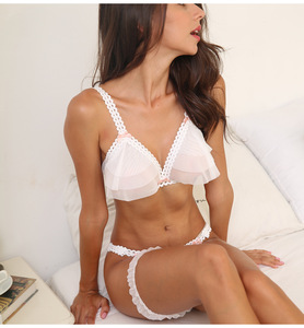 Image 1 - Beautiful Ultra thin Gauze Transparent Sexy Push Up Bra Sets Temptation Wedding Underwear Wireless Bra Crotchless Panties Set