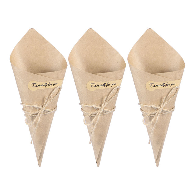 100pcs Novel Creative DIY Kraft Paper Cones Candy Boxes Flower Holder Kraft Paper for Wedding Party Gifts Crafting