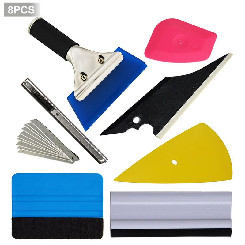 8 PCS Vehicle Glass Protective Film Car Window Wrapping Tint Vinyl Installing Tool Including Squeegees Scrapers Film Cutters