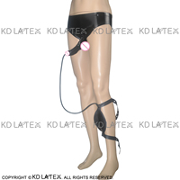 Black Latex Briefs With Penis Sheath Condom Piss Bag Rubber Underwear Shorts DK 0012
