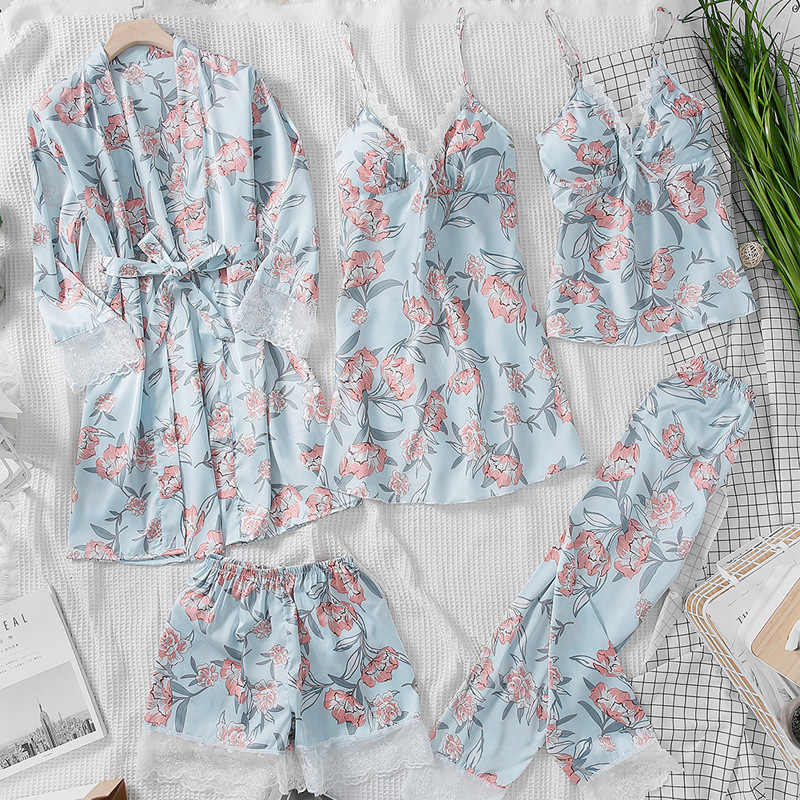ملابس نوم نسائية ربيعية مثيرة من 5 قطع موضة 2019 طقم بيجامات ملابس نوم مطبوع عليها زهور طقم بيجامات نسائي بحامل صدر