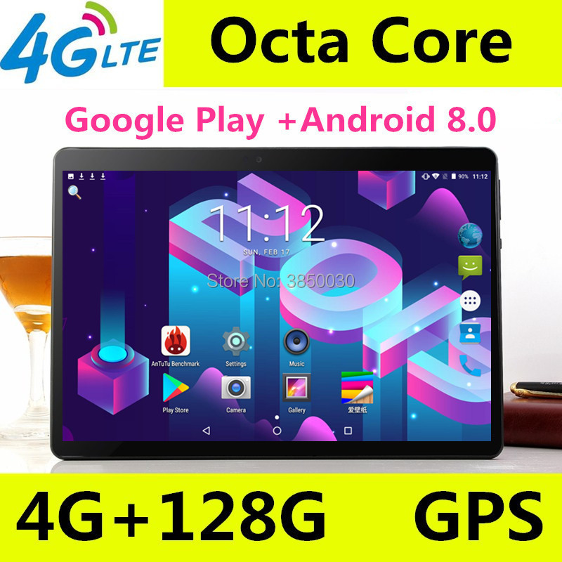 Super Tempered 10 Inch Tablet Android 8.0 Octa Core 4GB RAM 64GB 128GB ROM 8 Cores 1280*800 IPS Screen Tablets 10.1 + Gift