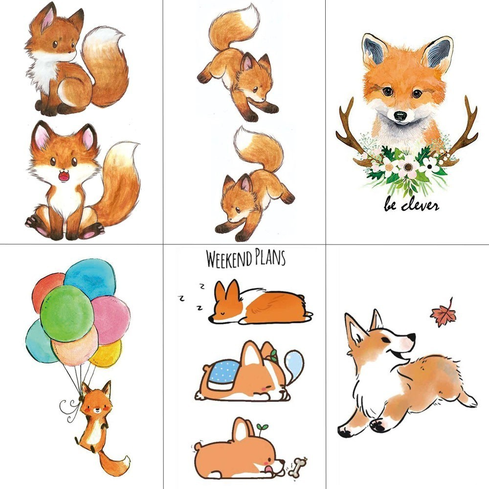 HXMAN Cartoon Fox Women Temporary Tattoo Sticker Tattoos For Waterproof Animal Body Art Kids Girls Hand Fake Tatoo 9.8X6cm A-194