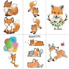 WYUEN Fox Women Temporary Tattoo Sticker Tattoos for Waterproof Men Animal Body Art Kids Girls Hand Fake Tatoo 10.5X6cm A-194