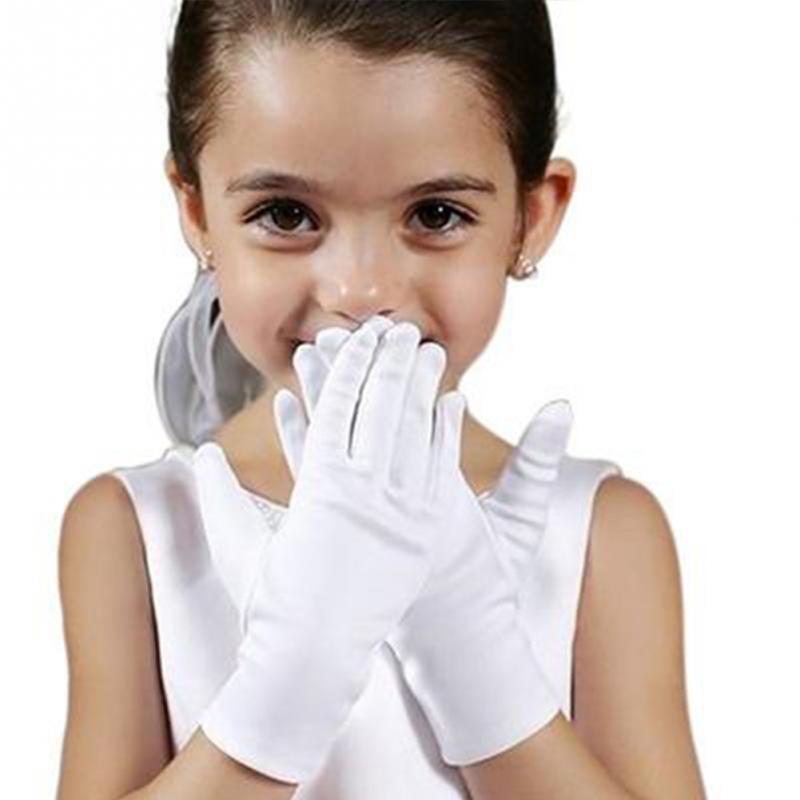 Unisex Kids Gloves White Short Satin Soft Elastic Gloves For Children Girl Boy Performance Dance Speech Gloves #1106