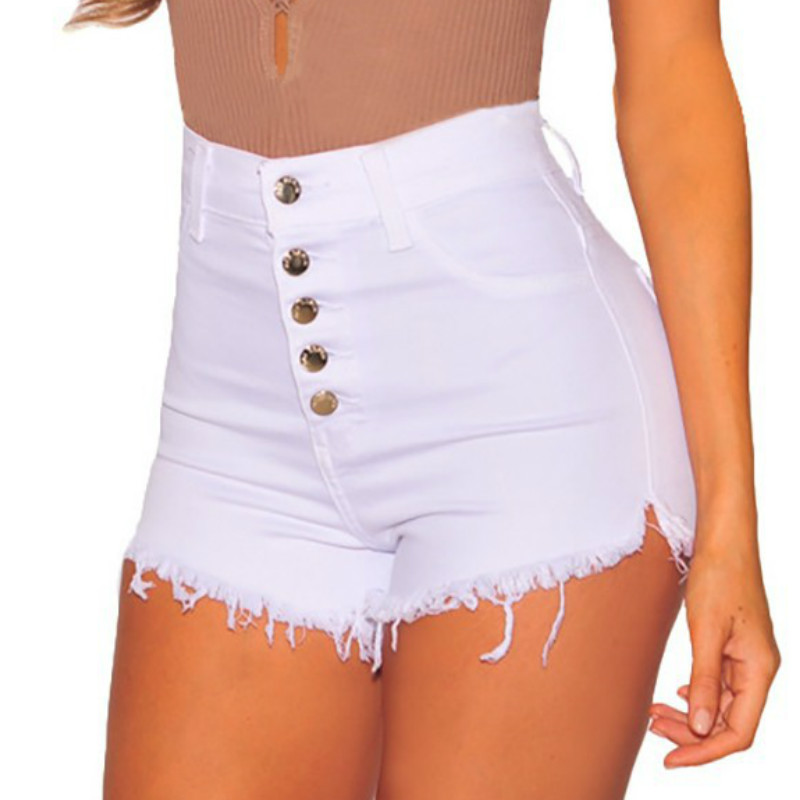 2019 Summer Sexy High Waisted   Shorts   Women Casual Mini Button   Short   Pants Black White   Shorts